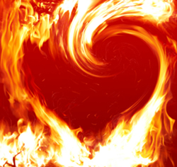 Picture of heart in flames